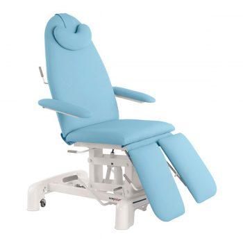 Fauteuil de pédicure et podologie hydraulique Ecopostural couleur bleu ciel plusieurs positions et accoudoirs rabattables