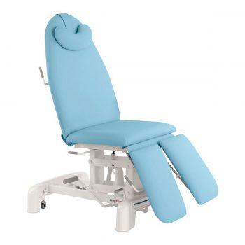 Fauteuil de pédicure et podologie hydraulique Ecopostural couleur bleu ciel plusieurs positions
