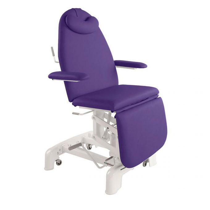 Fauteuil hydraulique de soin médicaux et esthétiques ecopostural avec accoudoirs couleur iris