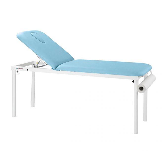 Table fixe de massage en acier avec porte rouleau dossier inclinable Ecopostural
