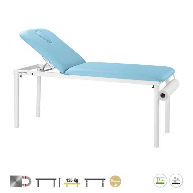 Table de massage fixe à 2 plans en acier avec dossier inclinable, hauteur fixe