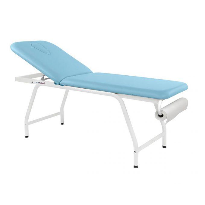 Table de massage ecopostural structure en acier blanc dossier relevable