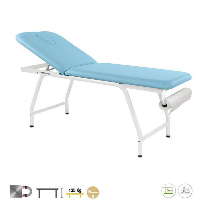 table de massage à 2 plans ecopostural en acier avec porte rouleau