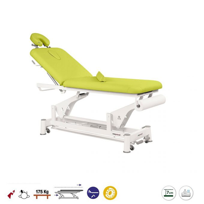 Table ecopostural avec têtière amovible coussin dorsal réglage hauteur électrique à bielle