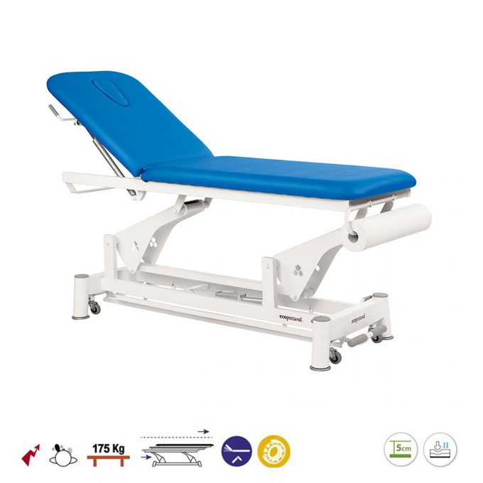 table Ecopostural de massage 2 plans, système périphérique avec moteur rapide, bleu