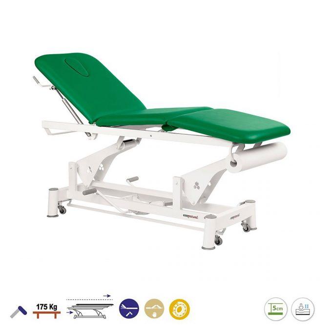 Table 3 plans massage Ecopostural à bielle avec pompe hydraulique et roulettes, couleur vert foncé