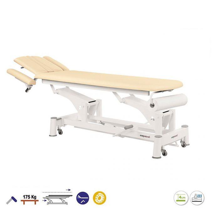 Table de massage 2 plans Ecopostural avec têtière réglable dossier inclinable et porte rouleau