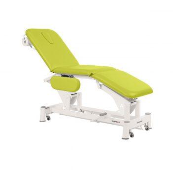 table de massage à 3 plans à bielle ecopotural avec dossier, assise et plateau pied inclinables réglage hydraulique et accoudoirs rabattables