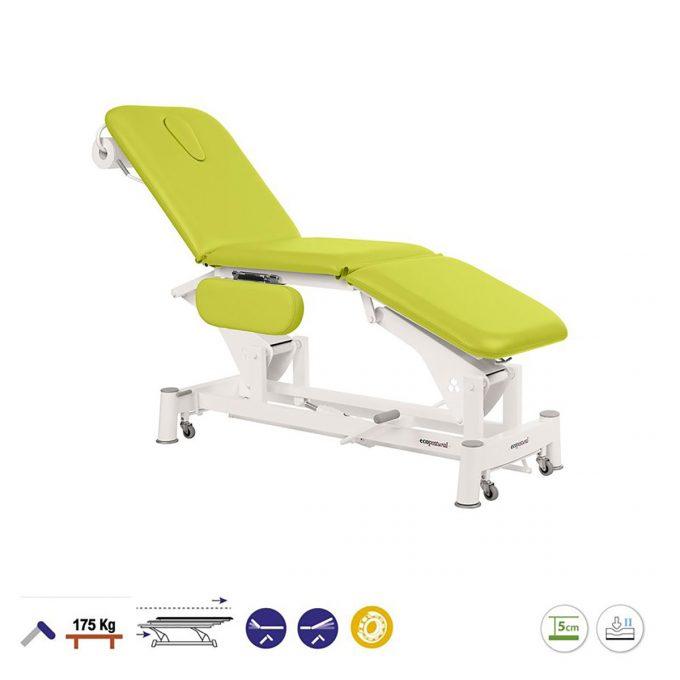 table de massage ecopotural avec dossier, assise et plateau pied inclinables réglage hydraulique avec accoudoirs et roulettes