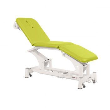 table de massage à 3 plans à bielle ecopotural avec dossier, assise et plateau pied inclinables réglage hydraulique