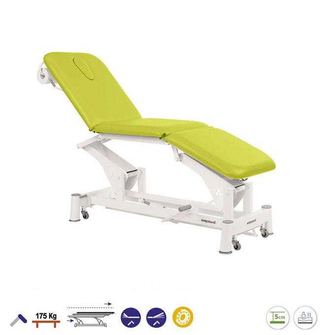 table de massage ecopotural avec dossier, assise et plateau pied inclinables réglage hydraulique