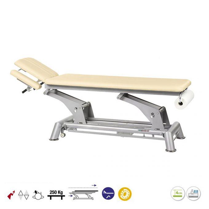 Table Ecopostural de massage à bielle grise avec moteur électrique et dossier inclinable et porte rouleau