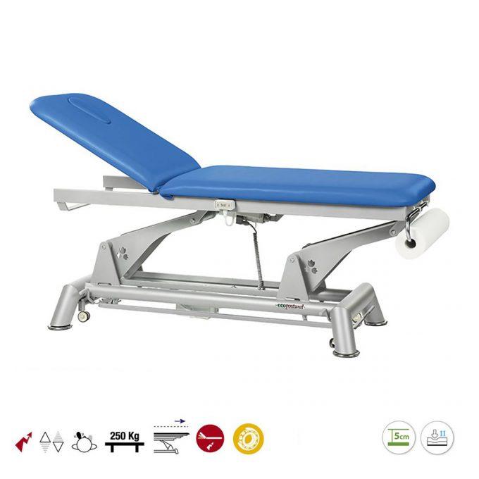 table ecopostural de massage avec hauteur et dossier réglable par moteurs électriques