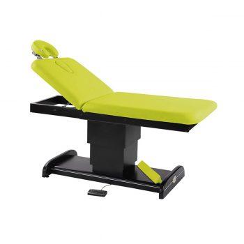 Table de massage et spa, 2 plans, ecopostural avec piètement central réglable en hauteur par moteur électrique en wengé