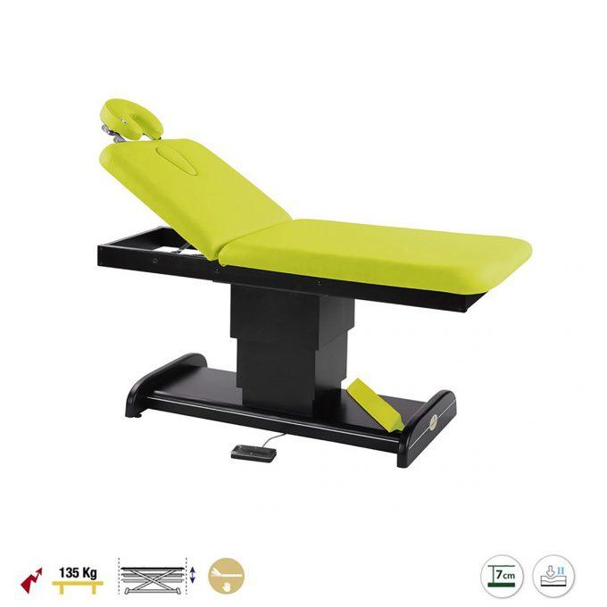 Table de massage et spa, 2 plans, ecopostural avec piètement central réglable en hauteur par moteur électrique en wengé et finition vert kiwi