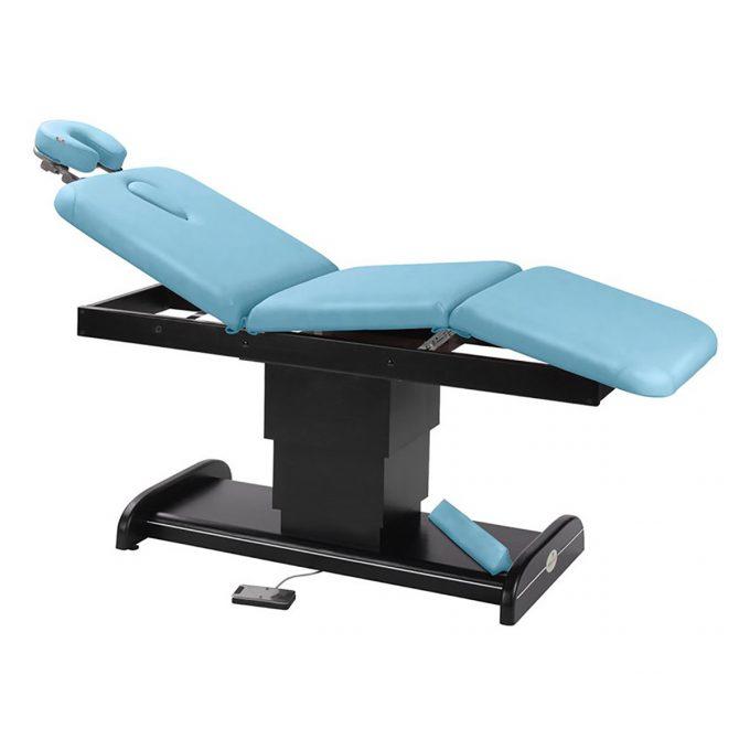 table de massage Ecopostural, 3 plans, piètement central électrique, dossier et assise inclinables, base en wengé finition en couleur bleu ciel