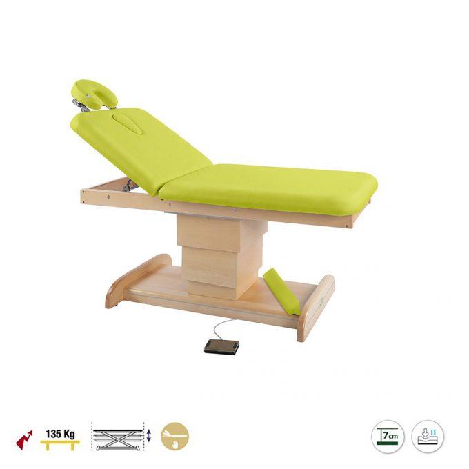 Table de massage et spa, 2 plans, ecopostural avec piètement central réglable en hauteur par moteur électrique en bois naturel revêtement en pvc vert kiwi