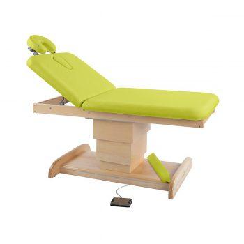 Table de massage et spa, 2 plans, ecopostural avec piètement central réglable en hauteur par moteur électrique en bois naturel