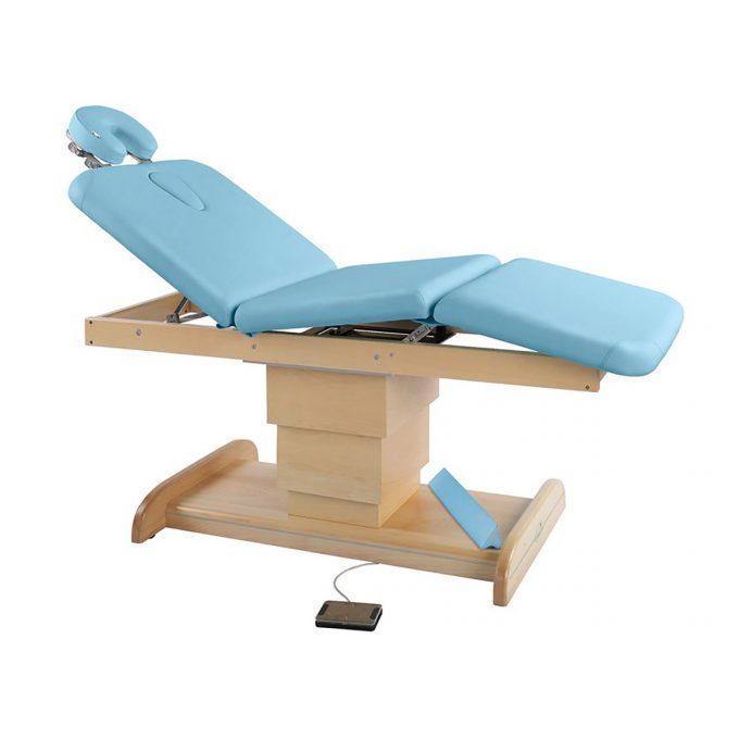 Table de massage Ecopostural 3 plans avec base réglable en hauteur en bois naturel par moteur électrique commande au pied