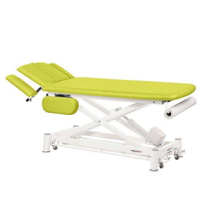 table ecopostural vert kiwi, hauteur réglable par moteur électrique, inclinaison du dossier hydraulique, accoudoirs rabattables