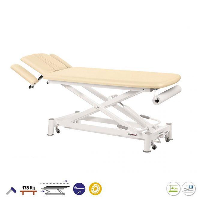 Table de massage 2 plans, ciseaux, réglable en hauteur, Ecopostural, crème