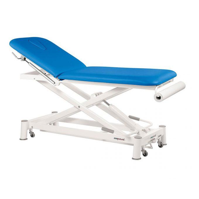 table de massage 2 plans à ciseaux Ecopostural pompe hydraulique, couleur bleu