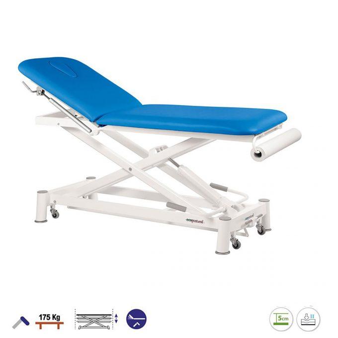 table de massage 2 plans à ciseaux Ecopostural pompe hydraulique, couleur bleu avec porte rouleau et petites roulettes
