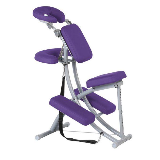 chaise de massage violette modulable en aluminium légère et transportable
