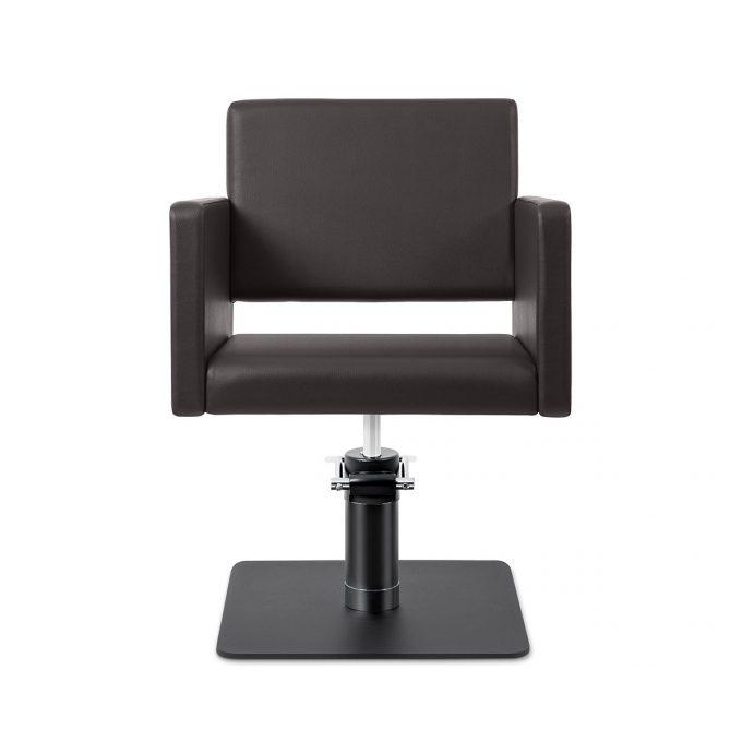 fauteuil de coiffure large et grand avec revêtement couleur chocolat en skaï et pied carré noir