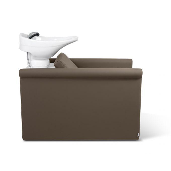 bac à shampoing en similicuir couleur praline, avec vasque blanche
