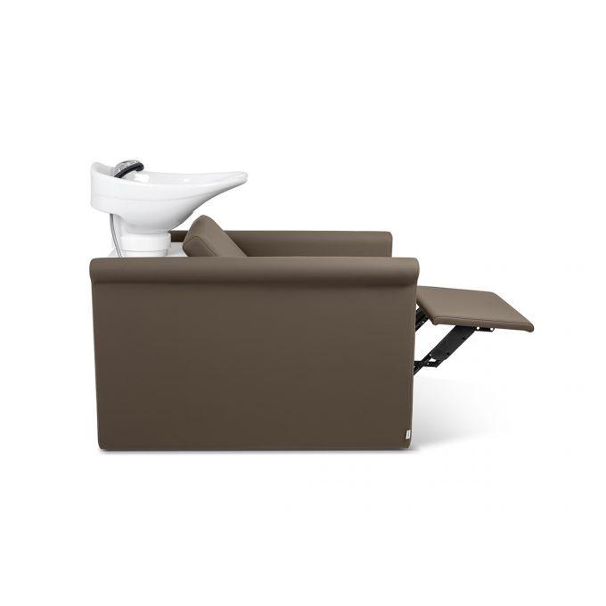 bac à shampoing en similicuir couleur praline, avec vasque blanche et repose jambes électrique