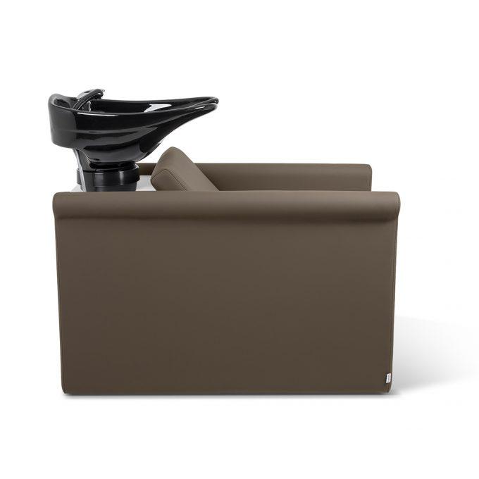 bac à shampoing en similicuir couleur praline, avec vasque noire