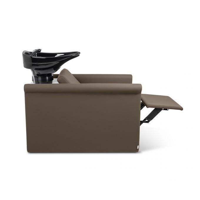 bac à shampoing en similicuir couleur praline, avec vasque noire et repose jambes électrique