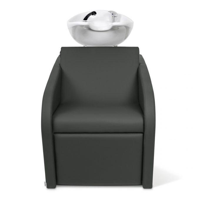 bac de lavage gris anthracite en similicuir, avec vasque en céramique blanche