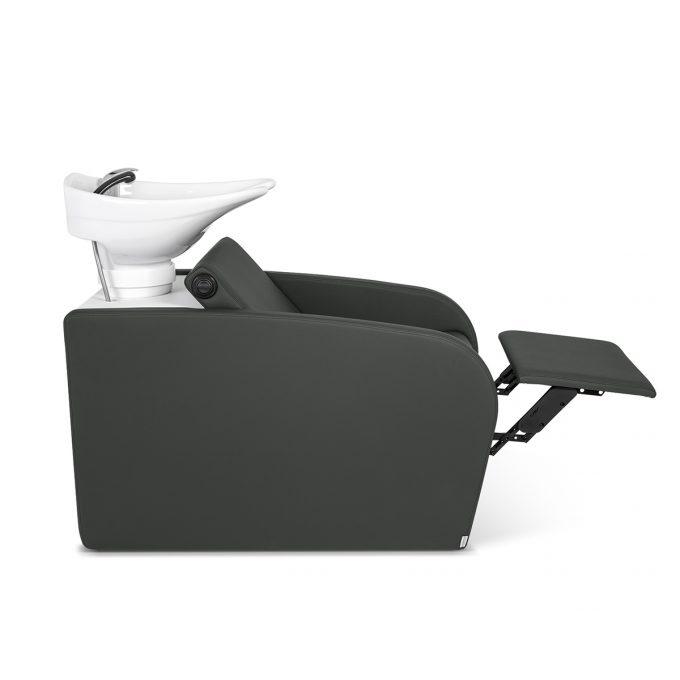 bac de lavage avec repose jambes gris anthracite en similicuir, avec vasque en céramique blanche