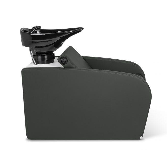 bac de lavage gris anthracite en similicuir, avec vasque en céramique noire