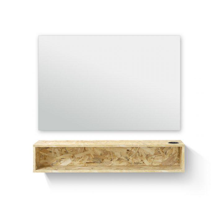 coiffeuse murale rectangulaire avec porte séchoir et tablette de rangement, effet bois aggloméré