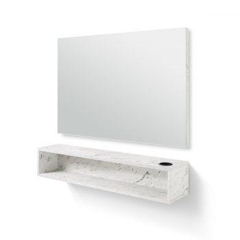 coiffeuse murale rectangulaire avec porte séchoir et tablette de rangement, effet marbre blanc