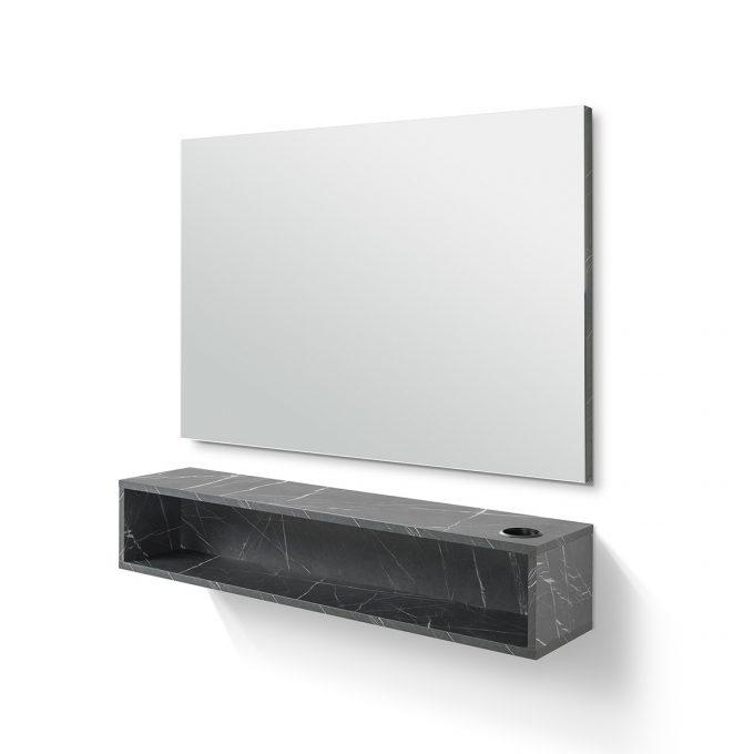 coiffeuse murale rectangulaire avec porte séchoir et tablette de rangement, effet marbre noir