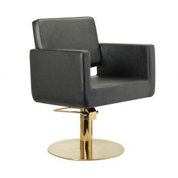 Siège de coiffure noir monobloc large au design contemporain avec pied rond métal doré