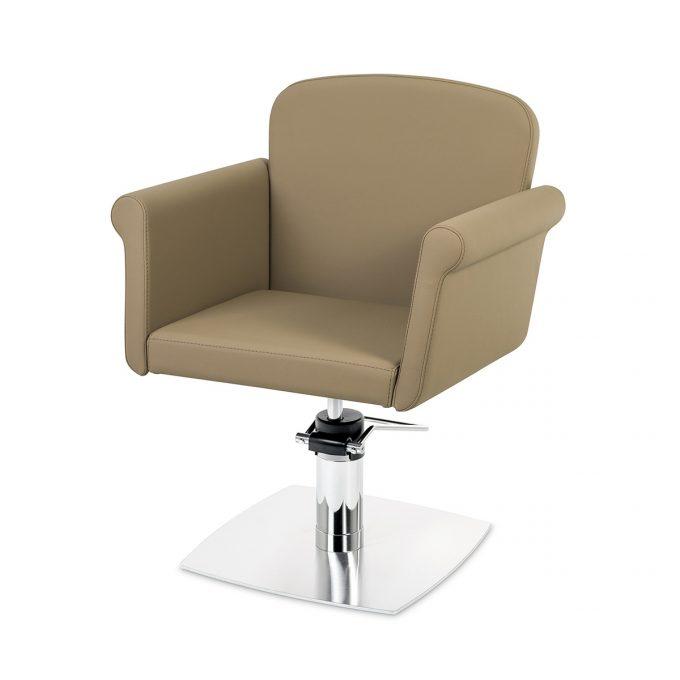 fauteuil couleur sumatra assise confortable et design contemporain, pied carré plat en métal brillant
