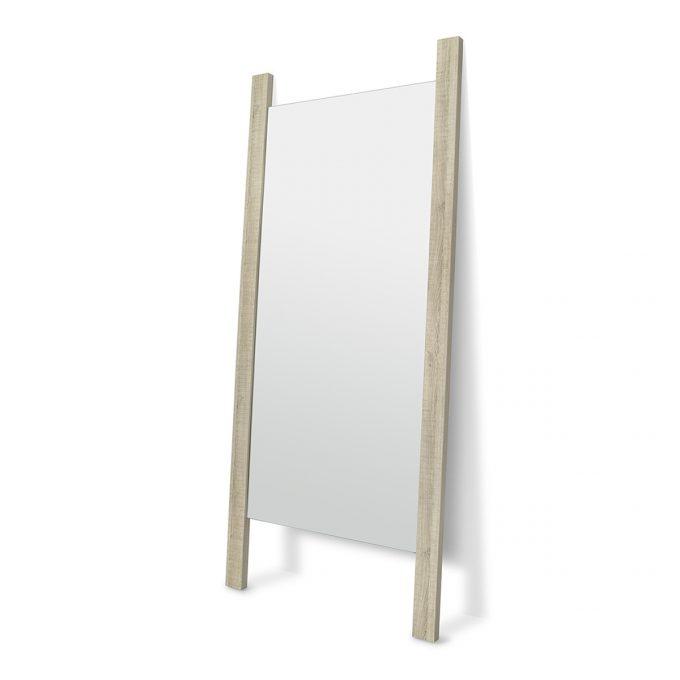 miroir de coiffure avec structure en bois à poser contre le mur