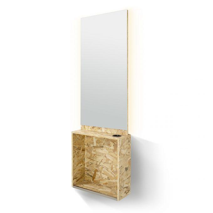 poste de coiffage en bois aggloméré avec porte séchoir et éclairage led