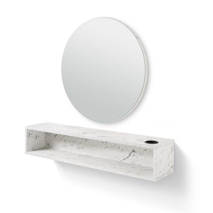coiffeuse murale rond avec porte séchoir et tablette de rangement, effet marbre blanc