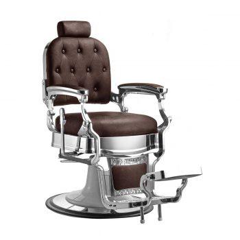 fauteuil barbier marron chocolat style vintage