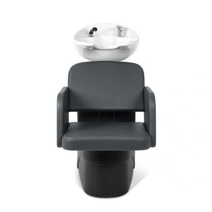 Bac de lavage économique avec structure en polyuréthane noire, assise large et confortable en similicuir gris anthracite, vasque blanche