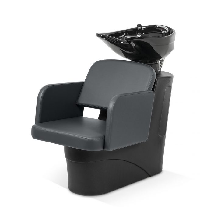 Bac de lavage économique avec structure en polyuréthane noire, assise large et confortable en similicuir gris anthracite, vasque noire