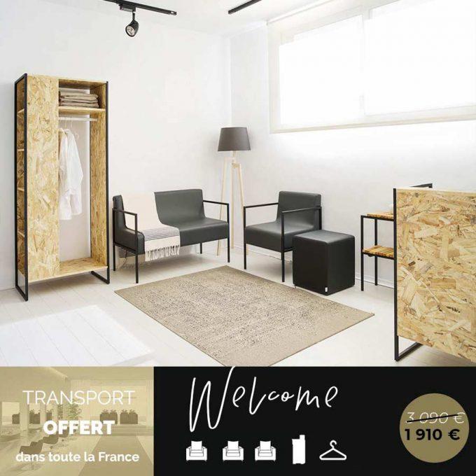 espace de réception complet avec vestiaire, fauteuils attente, meuble caisse et pouf