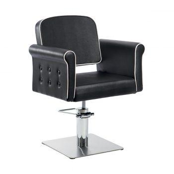 siège de coiffure avec base carrée chromée et large assise noir et blanc effet capitonné