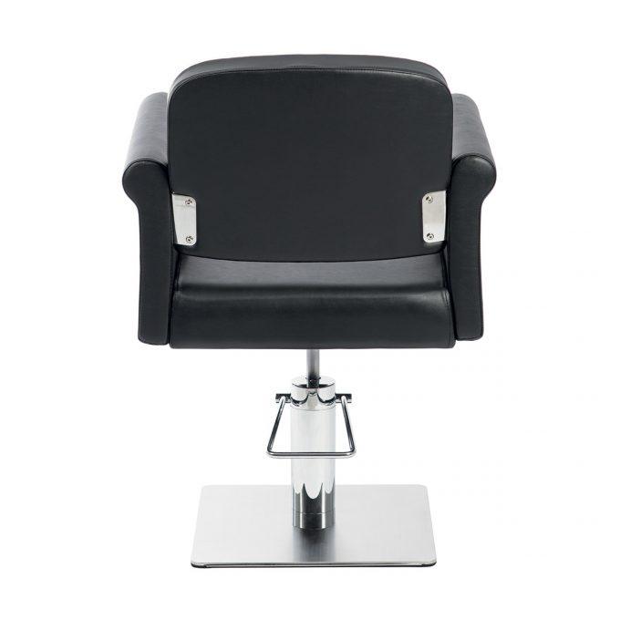 siège de coiffure avec base carrée chromée et large assise noir effet capitonné